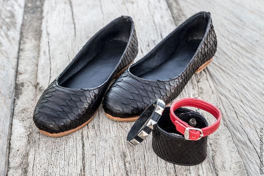 Обувь ручной работы. Ярмарка Мастеров - ручная работа. Купить Балетки из натуральной кожи питона . Балетки из питона. Handmade. Черный