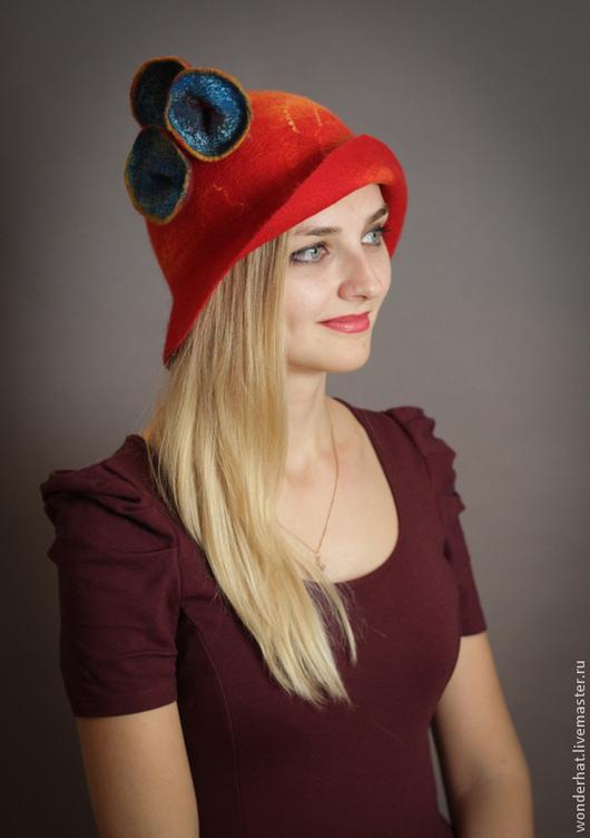 """Шляпы ручной работы. Ярмарка Мастеров - ручная работа. Купить Шляпка """"Марсианская поляна"""". Handmade. Ярко-красный, авторский аксессуар"""