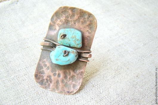 Кольца ручной работы. Ярмарка Мастеров - ручная работа. Купить Кольцо с бирюзой Frida 3. Handmade. Медное кольцо, бирюзовый
