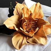 Цветы и флористика handmade. Livemaster - original item Leather flowers. Brooch