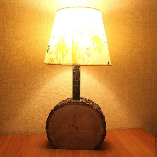 Освещение ручной работы. Ярмарка Мастеров - ручная работа. Купить Настольная лампа из среза дуба. Handmade. Светильник, деревянный светильник