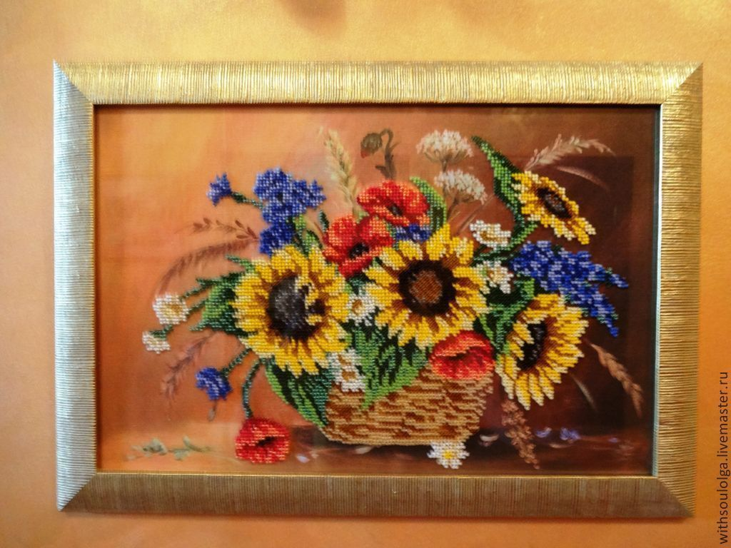 Букет цветов вышивка бисером