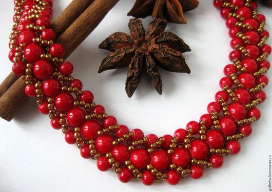 Колье, бусы ручной работы. Ярмарка Мастеров - ручная работа. Купить Яркие бусы-жгут из красного коралла. Handmade.