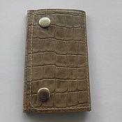 Сумки и аксессуары handmade. Livemaster - original item Housekeeper leather beige brown CROC-embossed leather. Handmade.