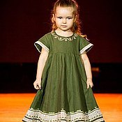 Одежда handmade. Livemaster - original item dresses: Summer linen dress for girls. Handmade.