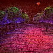 Картина пастелью Лунная ночь.