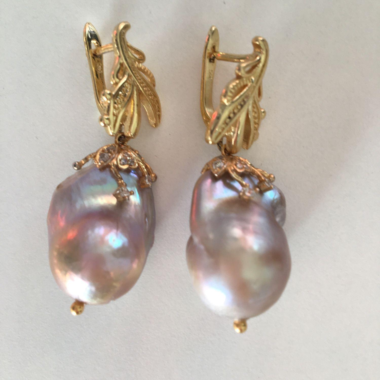 Earrings Baroque pearls 'dawn', Earrings, Nizhny Novgorod,  Фото №1