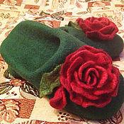 """Обувь ручной работы. Ярмарка Мастеров - ручная работа Валяные тапочки """"Розы"""". Handmade."""