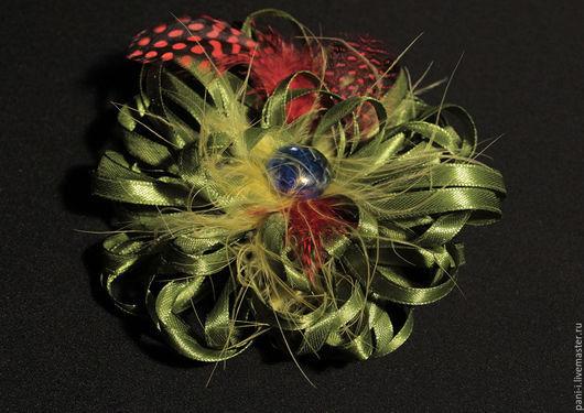 """Броши ручной работы. Ярмарка Мастеров - ручная работа. Купить Брошь стильная  """"Фантазийный салатовый цветок"""". Handmade. Оливковый"""