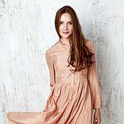 Одежда ручной работы. Ярмарка Мастеров - ручная работа Платье-рубашка шелковое бежевое. Handmade.