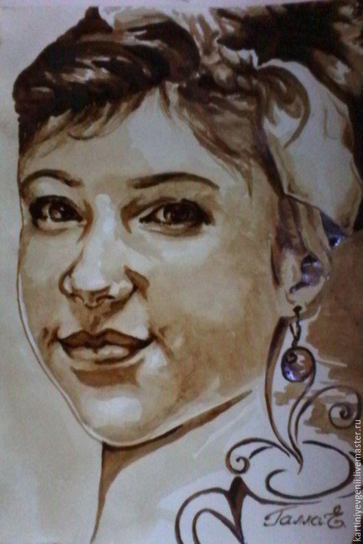 Люди, ручной работы. Ярмарка Мастеров - ручная работа. Купить Портрет Танюшки. Handmade. Коричневый, девочка, портрет, кофе, Живопись