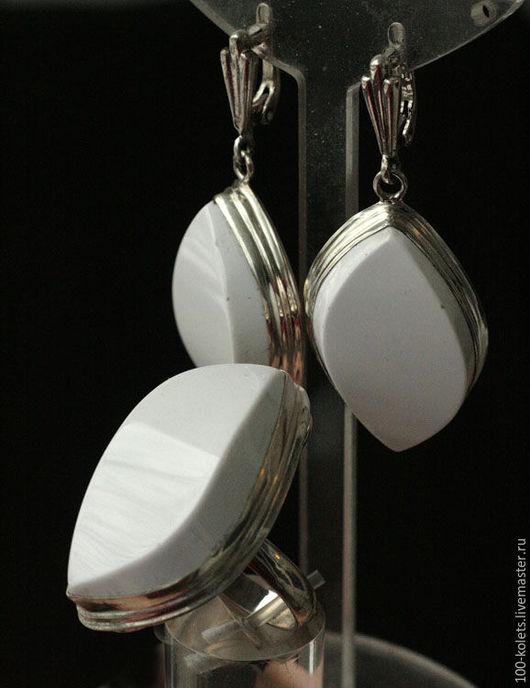 Комплекты украшений ручной работы. Ярмарка Мастеров - ручная работа. Купить Комплект с кахолонгом. Handmade. Белый, натуральные камни, серебро