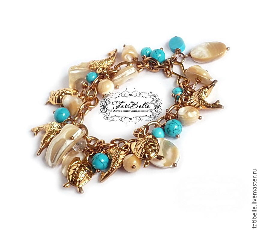 Bracelet 'Thessaloniki' turquoise and mother of pearl, Bead bracelet, Moscow,  Фото №1