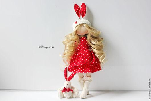 Коллекционные куклы ручной работы. Ярмарка Мастеров - ручная работа. Купить Зайка. Интерьерная кукла.. Handmade. Ярко-красный, подарок