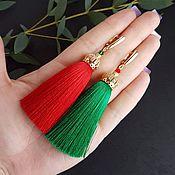 Украшения ручной работы. Ярмарка Мастеров - ручная работа Серьги кисти красный+зелёный. Handmade.