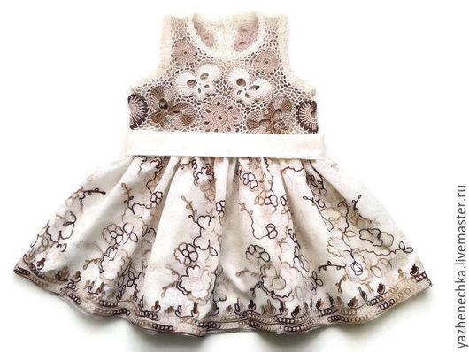 Одежда для девочек, ручной работы. Ярмарка Мастеров - ручная работа. Купить Платье из хлопка для маленькой девочки Белый шоколад. Handmade.