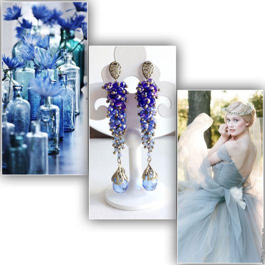 """Серьги ручной работы. Ярмарка Мастеров - ручная работа. Купить Серьги """"Blue Cristal"""". Handmade. Васильковый, чешские бусины, хрусталь"""