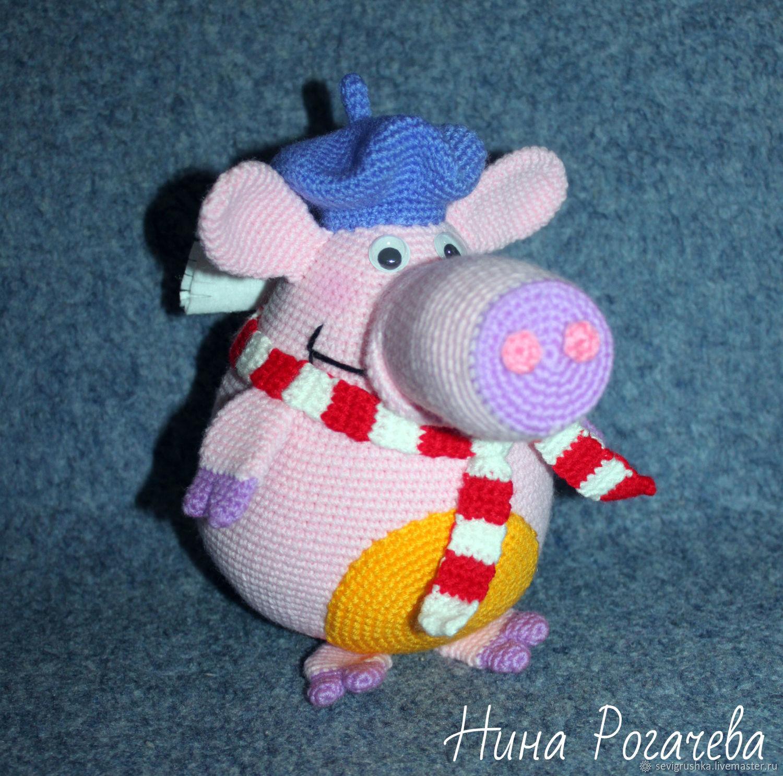 Pig Sophie. Pig knit, Stuffed Toys, Kandalaksha,  Фото №1
