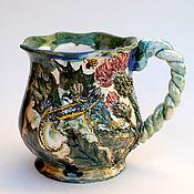 Посуда handmade. Livemaster - original item Thistle and lizard. Mug with decor.. Handmade.