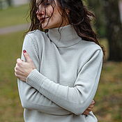 Одежда handmade. Livemaster - original item Merino wool turtleneck basic sweater with high Angel neckline. Handmade.