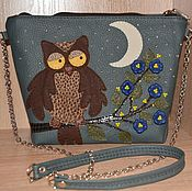 Сумки и аксессуары handmade. Livemaster - original item Leather bag with applique art.1-413.Owl.. Handmade.