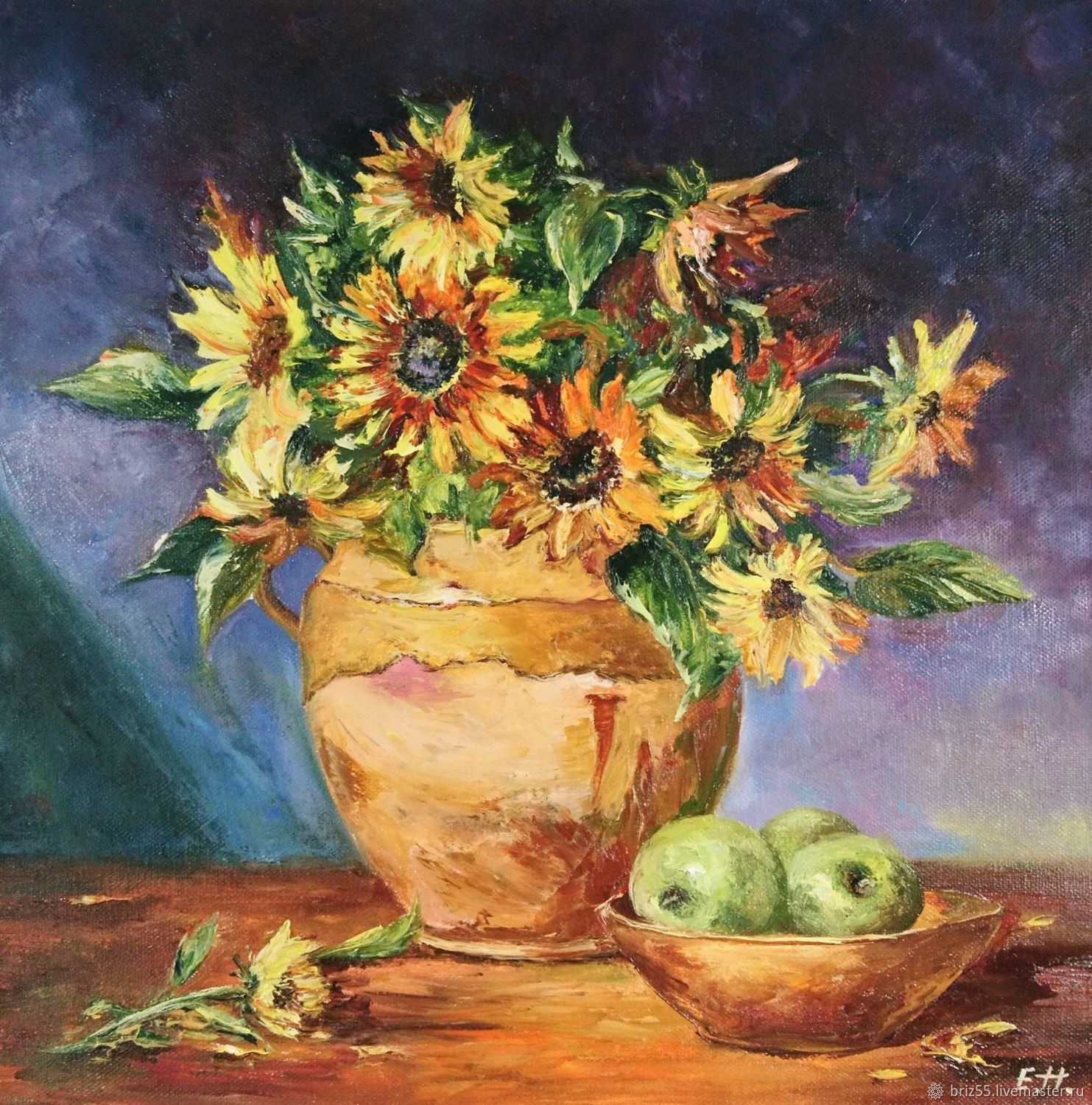 Oil painting still life with sunflowers, Pictures, Zelenograd,  Фото №1
