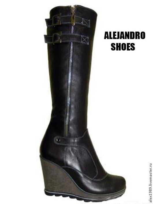 """Обувь ручной работы. Ярмарка Мастеров - ручная работа. Купить Сапоги """"ALEGRA"""". Handmade. Черный, мех натуральный, демисезонная обувь"""