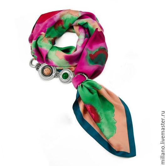 Шарфы и шарфики ручной работы. Ярмарка Мастеров - ручная работа. Купить Шелковый платок-колье акварель, разноцветный. Handmade. Комбинированный