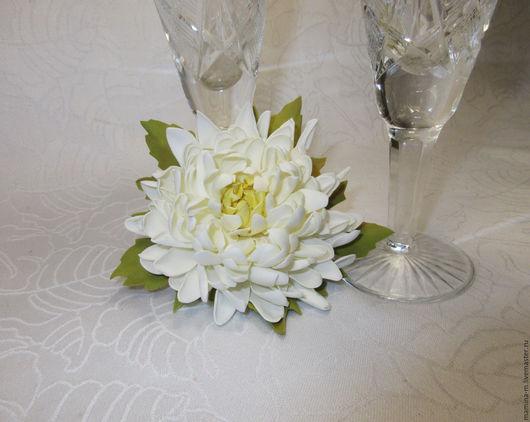 `Брызги шампанского` хризантема из фоамирана, брошь. Диаметр цветка 9 см. МамиНа мастерская. Ярмарка мастеров