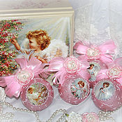 """Подарки к праздникам ручной работы. Ярмарка Мастеров - ручная работа """"Ангелочки"""" елочные шары в шкатулке. Handmade."""