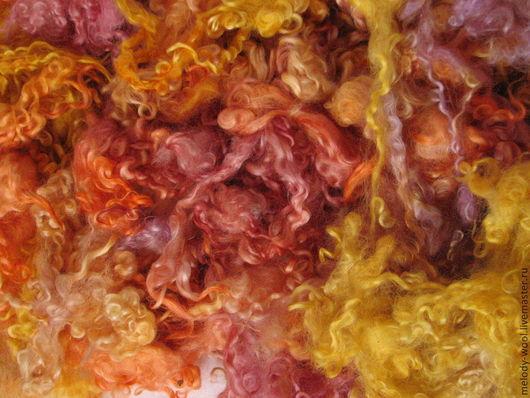 Валяние ручной работы. Ярмарка Мастеров - ручная работа. Купить Флис Венслидейла ручного окрашивания (оттенки оранжевого,желтого,брусн. Handmade.