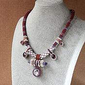 handmade. Livemaster - original item Tubular beaded rope with jellyfish lampwork pendant. Handmade.