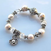 Украшения handmade. Livemaster - original item b 17 Bracelet with pearl and rock crystal. Handmade.