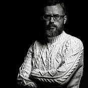 Одежда ручной работы. Ярмарка Мастеров - ручная работа Мужской свитер с аранами. Handmade.
