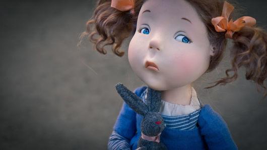 Коллекционные куклы ручной работы. Ярмарка Мастеров - ручная работа. Купить Мой заяц. Handmade. Синий, livingdoll
