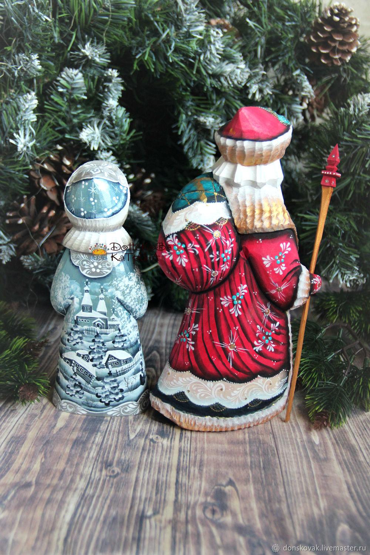 дед мороз и снегурочка пара 17 деревянные резные расписные купить на ярмарке мастеров H7n6pru сувениры москва