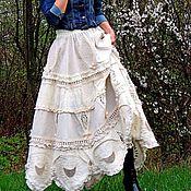 Одежда ручной работы. Ярмарка Мастеров - ручная работа Юбка макси в стиле БОХО с кружевом и вышивкой (275). Handmade.