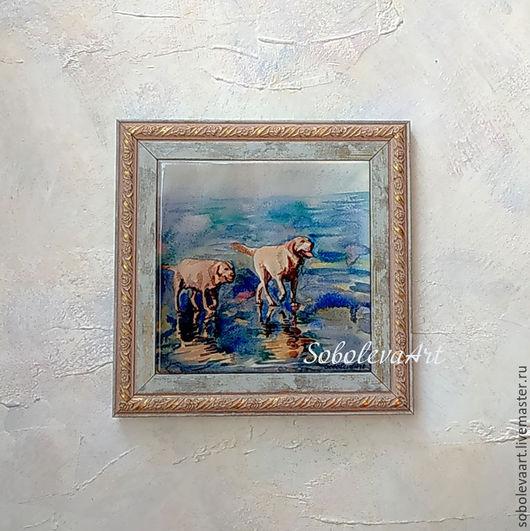 Животные ручной работы. Ярмарка Мастеров - ручная работа. Купить Картина с Собаками Лабрадоры Пара Собак Картина Море. Handmade.