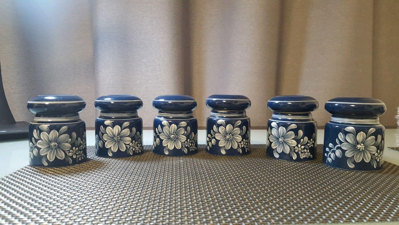 Винтаж: 6 керамических формочек с крышками. Германия, Винтажная кухонная утварь, Эссен, Фото №1