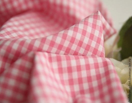 Шитье ручной работы. Ярмарка Мастеров - ручная работа. Купить Ткань хлопок Розовая клетка-полоска-рисунок. Handmade. Ткань