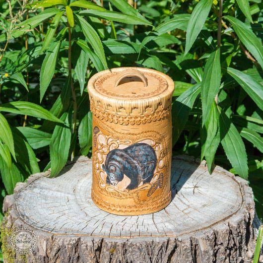 Конфетницы, сахарницы ручной работы. Ярмарка Мастеров - ручная работа. Купить Туеса Кубышка из натуральной бересты с крышкой с изобр медведя #B2. Handmade.
