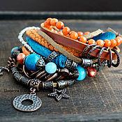 Украшения handmade. Livemaster - original item Boho-chic arm bracelet with agate and Jasper