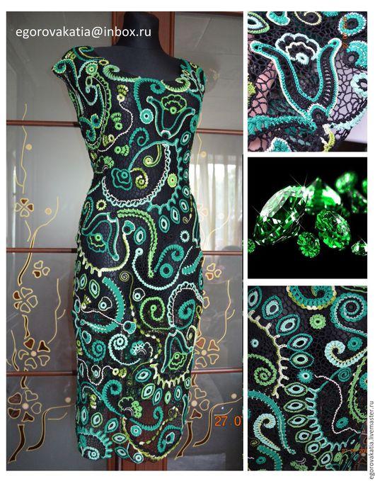 """Платья ручной работы. Ярмарка Мастеров - ручная работа. Купить платье - """"Переливы изумруда"""". Handmade. Платье, платье вязаное"""