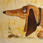 Картины ручной работы. Ярмарка Мастеров - ручная работа Такса (батик панно). Handmade.