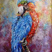 Картины и панно handmade. Livemaster - original item Oil painting / hardboard Bright Parrot. Handmade.