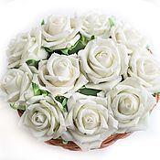 """Цветы и флористика ручной работы. Ярмарка Мастеров - ручная работа Интерьерная композиция-букет """"Цвет белых роз"""" (холодный фарфор, розы). Handmade."""