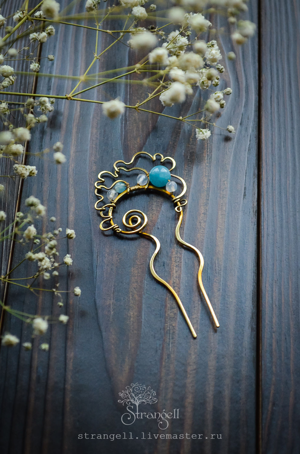 Small brass hair clip with stones, boho wire wrap blue, Hairpin, Ulan-Ude,  Фото №1