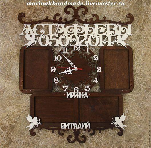 Часы для дома ручной работы. Ярмарка Мастеров - ручная работа. Купить Часы+фоторамка. Handmade. Коричневый, часы интерьерные