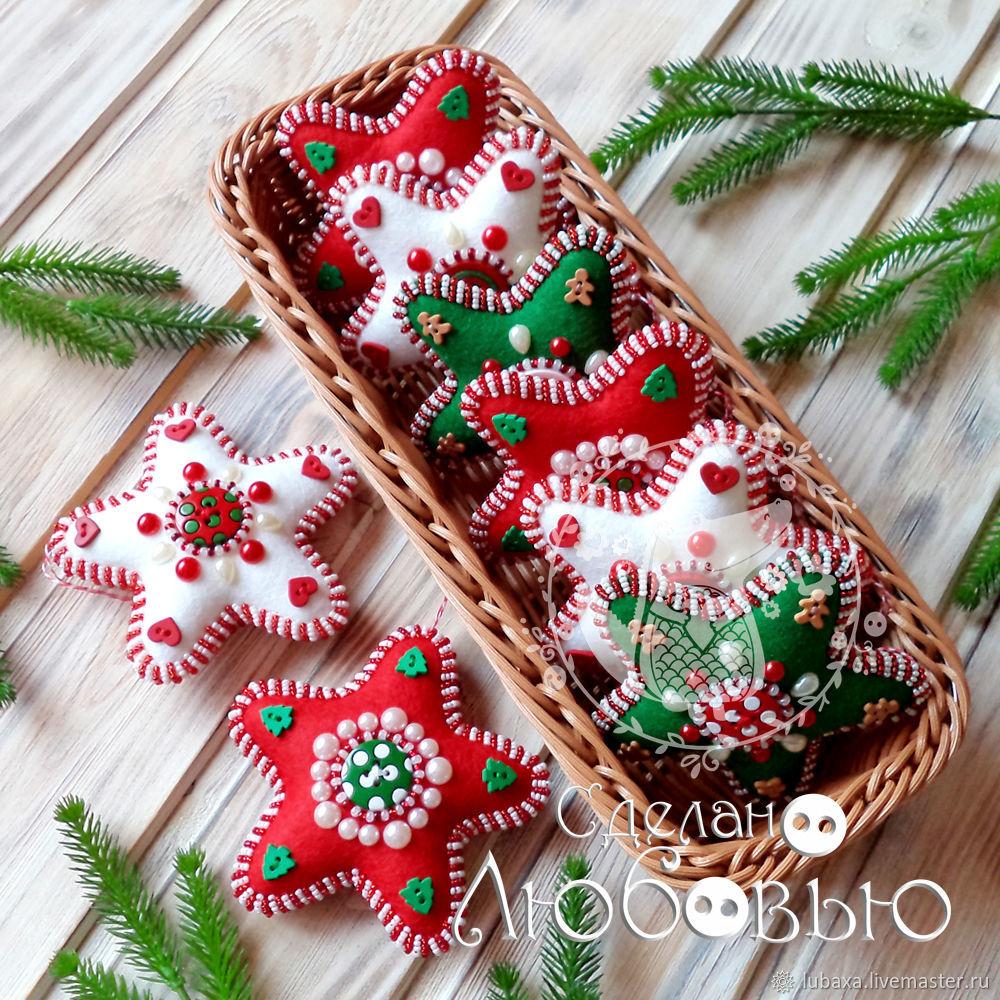 Stars from felt. gift 2020, Christmas decorations, Vyborg,  Фото №1
