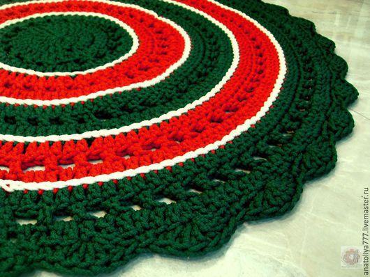 Текстиль, ковры ручной работы. Ярмарка Мастеров - ручная работа. Купить Вязаный разноцветный круглый коврик Новогодний. Handmade.